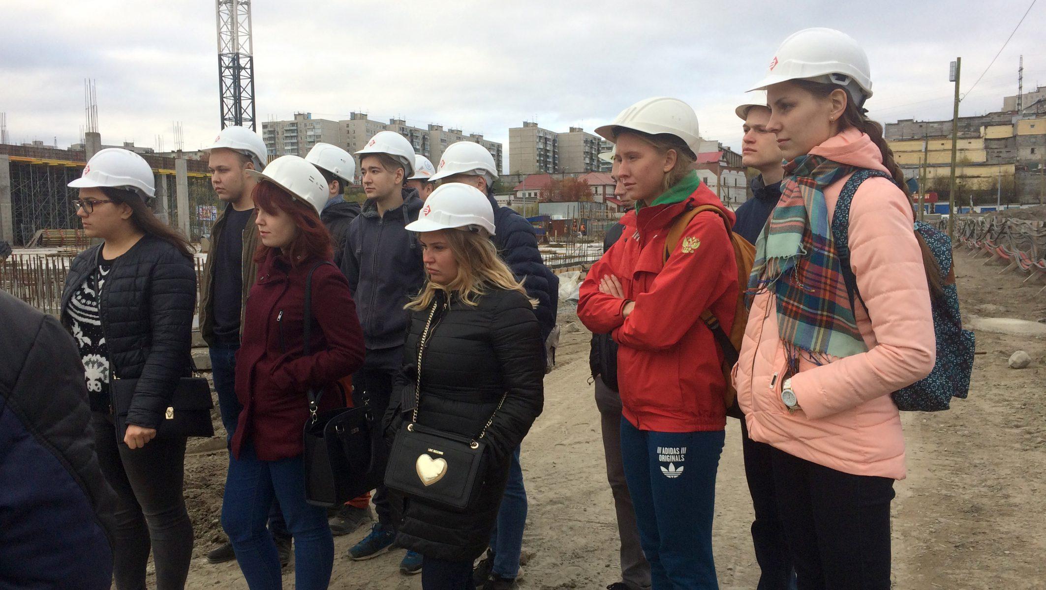 Экскурсия студентов МГТУ  на строительной площадке МФЦ «PLAZMA»